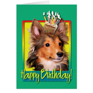Birthday Cupcake - Sheltie Puppy - Cooper Card