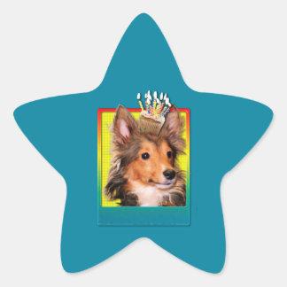 Birthday Cupcake - Sheltie Puppy - Cooper Star Sticker