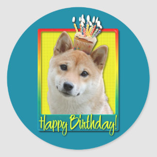 Birthday Cupcake - Shiba Inu Classic Round Sticker