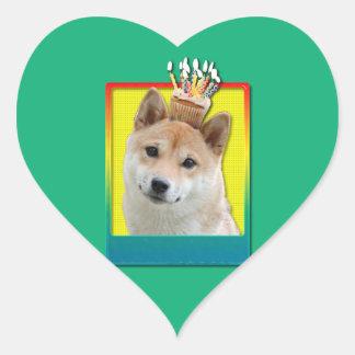 Birthday Cupcake - Shiba Inu Heart Sticker