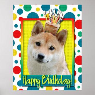Birthday Cupcake - Shiba Inu Poster