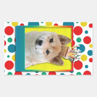Birthday Cupcake - Shiba Inu Rectangular Sticker