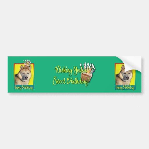 Birthday Cupcake - Siberian Husky - Copper Bumper Stickers