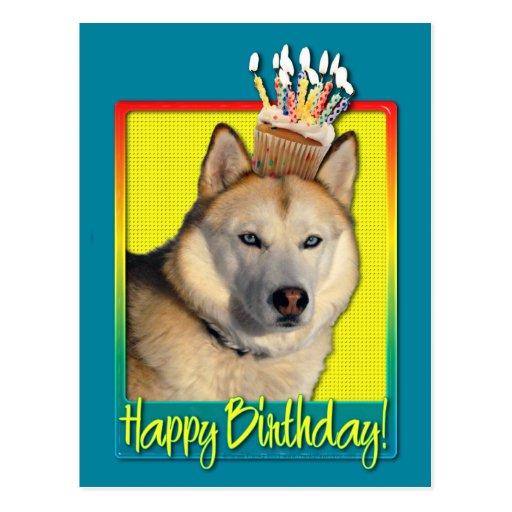 Birthday Cupcake - Siberian Husky - Copper Postcard