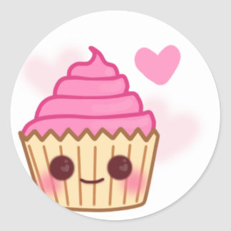 Birthday Cupcake- Smiling Classic Round Sticker