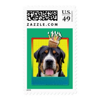 Birthday Cupcake - Swiss Mountain Dog Postage Stamps