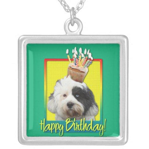 Birthday Cupcake - Tibetan Terrier Square Pendant Necklace