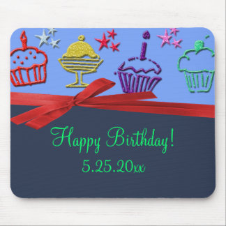 Birthday Cupcake Treat Surprise Personalized Mouse Pad