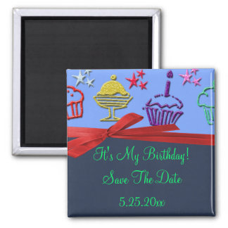 Birthday Cupcake Treat Surprise Save Date 2 Inch Square Magnet