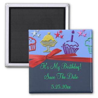 Birthday Cupcake Treat Surprise Save Date Magnet