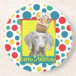 Birthday Cupcake - Weimeraner Beverage Coaster