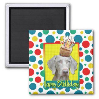 Birthday Cupcake - Weimeraner Refrigerator Magnet