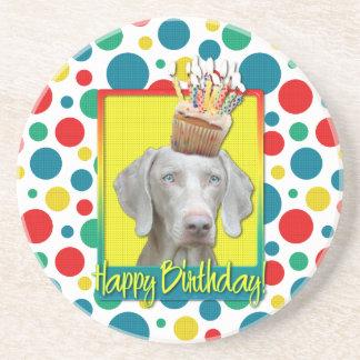 Birthday Cupcake - Weimeraner Sandstone Coaster