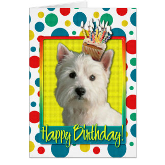 Birthday Cupcake - West Highland Terrier Greeting Cards