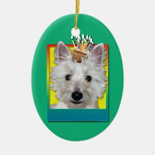 Birthday Cupcake - Westie - Tank Christmas Tree Ornament