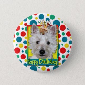 Birthday Cupcake - Westie - Tank Pinback Button