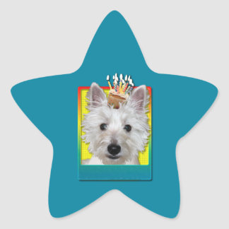 Birthday Cupcake - Westie - Tank Star Sticker