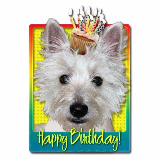 Birthday Cupcake - Westie - Tank Statuette
