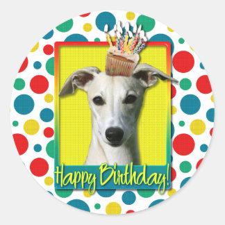 Birthday Cupcake - Whippet Classic Round Sticker
