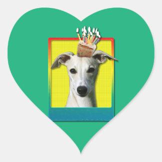 Birthday Cupcake - Whippet Heart Sticker