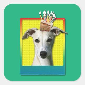 Birthday Cupcake - Whippet Square Sticker