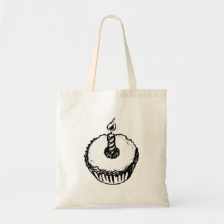 Birthday Cupcake with Candle Canvas Bag