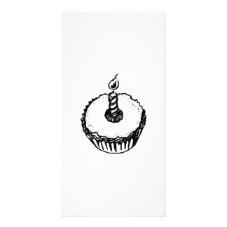 Birthday Cupcake with Candle Photo Cards