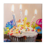 Birthday Cupcake with Candles Ceramic Tile