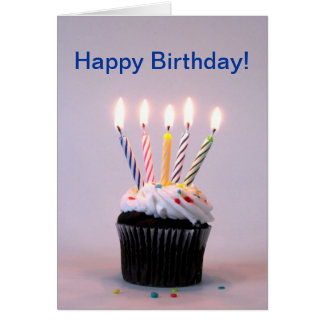 Birthday Cupcake with Candles Greeting Card