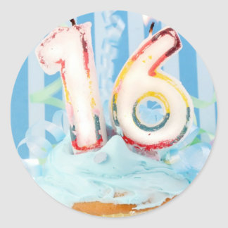 Birthday cupcake with candles in number 16 classic round sticker