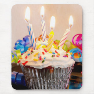 Birthday Cupcake with Candles Mouse Pad