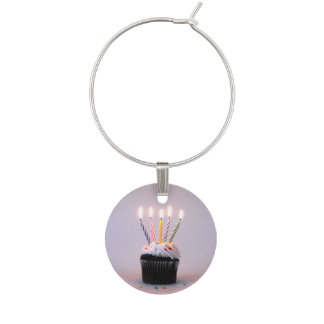 Birthday Cupcake with Candles Wine Charm