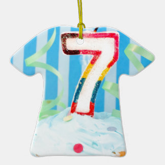 Birthday cupcake with the number seven candle christmas ornaments