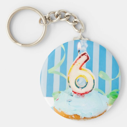 Birthday cupcake with the number six candle lit keychain