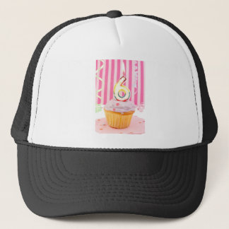 Birthday cupcake with the number six candle lit trucker hat