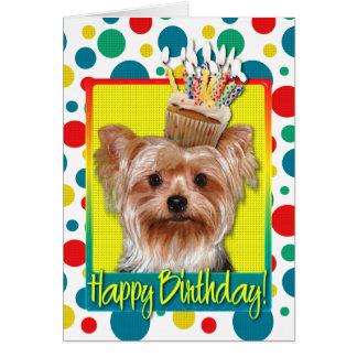Birthday Cupcake - Yorkshire Terrier Greeting Card