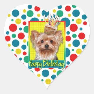 Birthday Cupcake - Yorkshire Terrier Heart Sticker