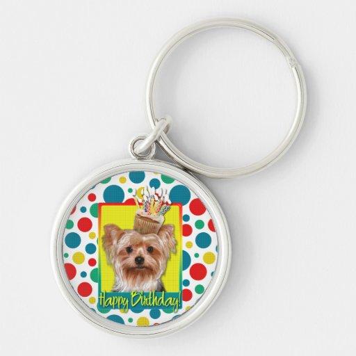 Birthday Cupcake - Yorkshire Terrier Key Chain