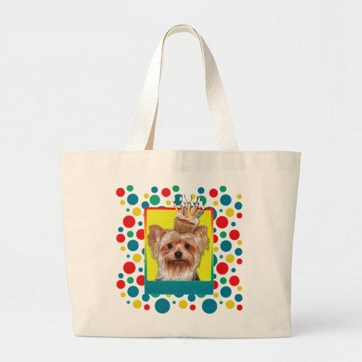 Birthday Cupcake - Yorkshire Terrier Large Tote Bag