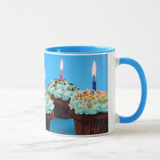 Birthday cupcakes and candles coffee mug