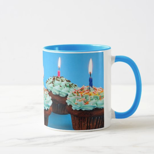 Birthday cupcakes and candles coffee mug