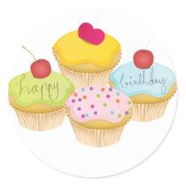 Birthday Cupcakes Classic Round Sticker