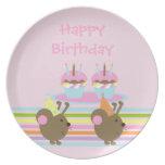 Birthday Cupcakes Party Mice Plate