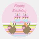 Birthday Cupcakes Party Mice Stickers