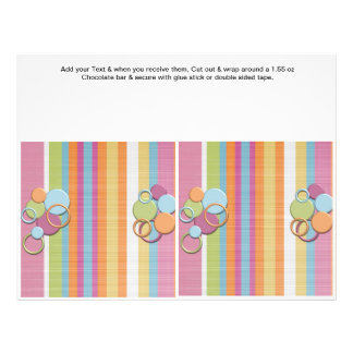 "Birthday Custom Candy Bar Wrappers Party favors 8.5"" X 11"" Flyer"