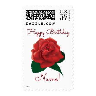 Birthday custom text red rose postage
