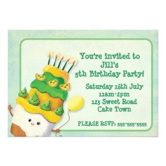 Birthday Cute Cake Party Invitation