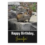 [ Thumbnail: Birthday + Cute Chipmunk Like Critter On a Rock Card ]