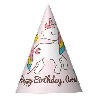 Birthday. Cute Unicorn with Cute Hearts. Add Name. Party Hat
