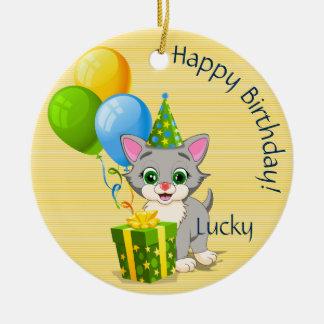 Birthday Cutie Grey Kitten Cartoon Ceramic Ornament